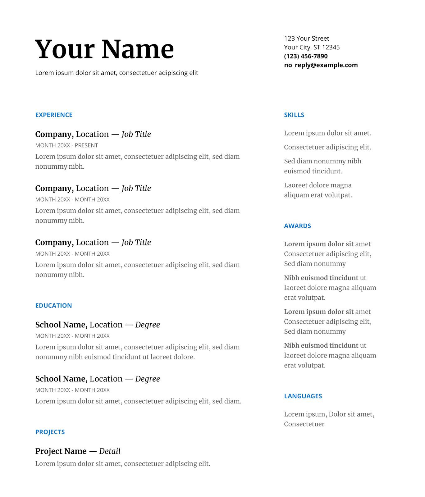 Modelo de currículo em Inglês no Google Docs