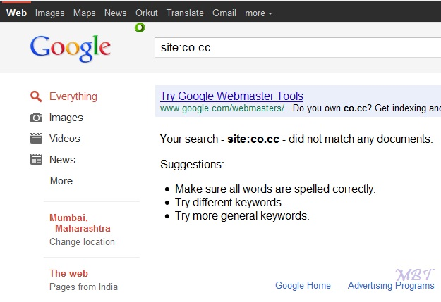 .co.cc banned by Google
