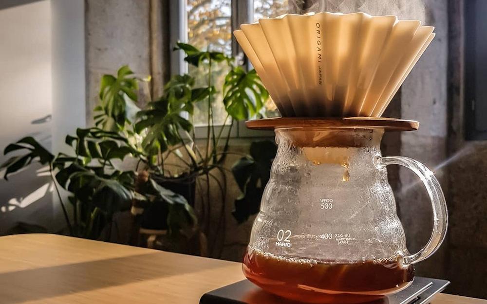 origami coffee filter over hario jug
