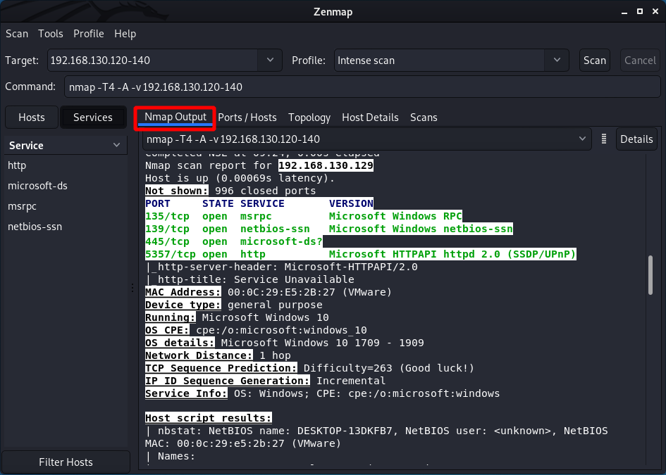 The ZENMAP tutorial - Nmap Output tab. Source: nudesystems.com