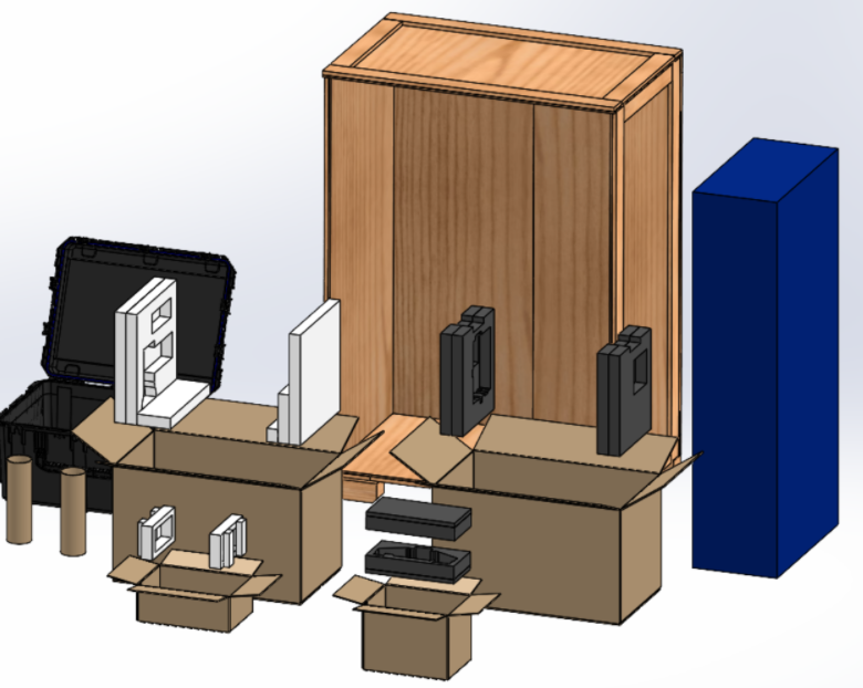 Rendering of customer crate packaging with all pieces