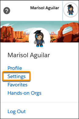 Menu Avatar sur Trailhead affichant l'option Paramètres