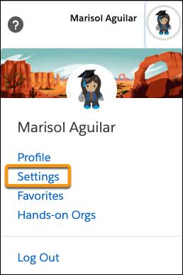 Menu do avatar no Trailhead mostrando a opção Configurações