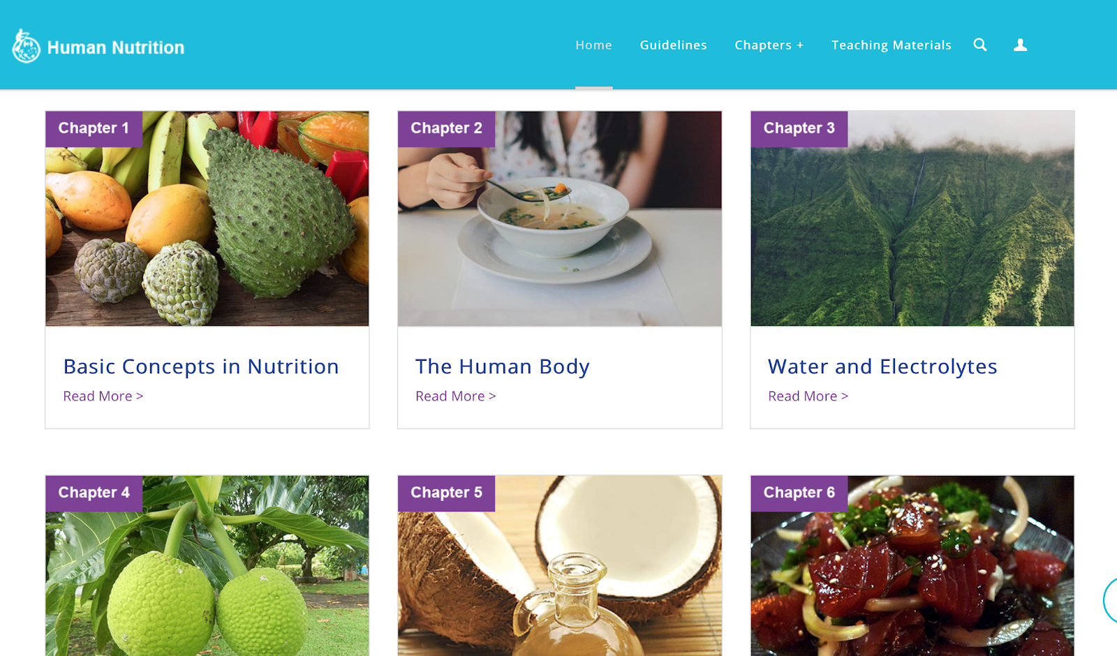 Screenshot of OER website for human nutrition