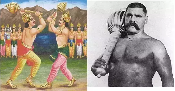 In ancient India, the gaga, or indian club, was commonly used for physical training to improve the strength of men and warriors.