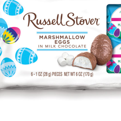 Packaging of a bag of Russell Stover marshmallow chocolate eggs.