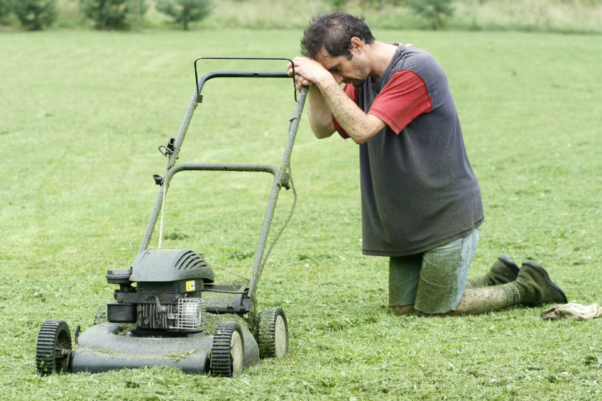 Image result for mowing lawn frustration