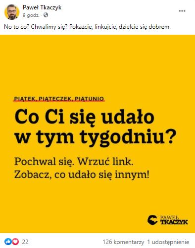 post FB Pawła Tkaczyka