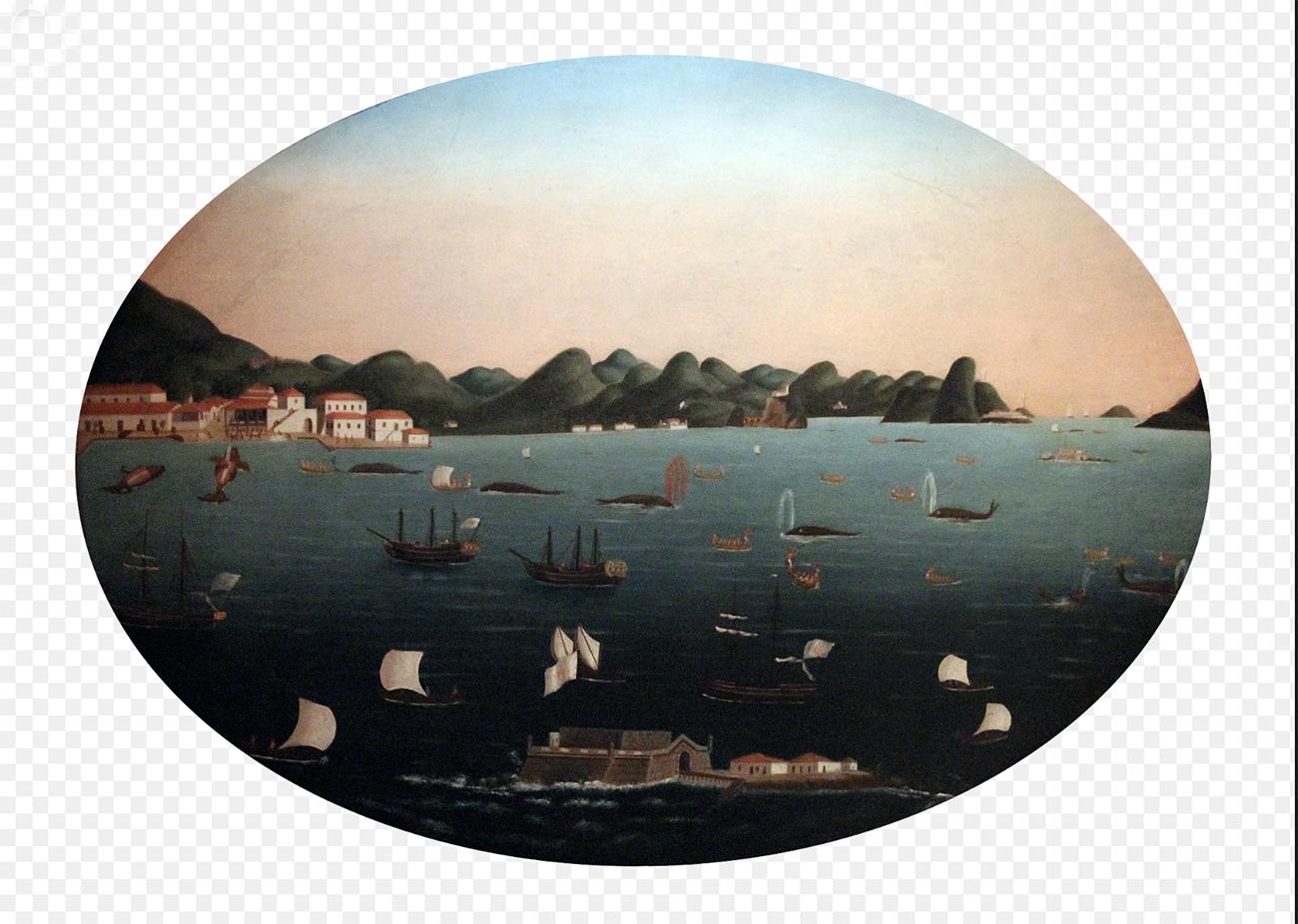 gravura da baía de Guanabara no século 17