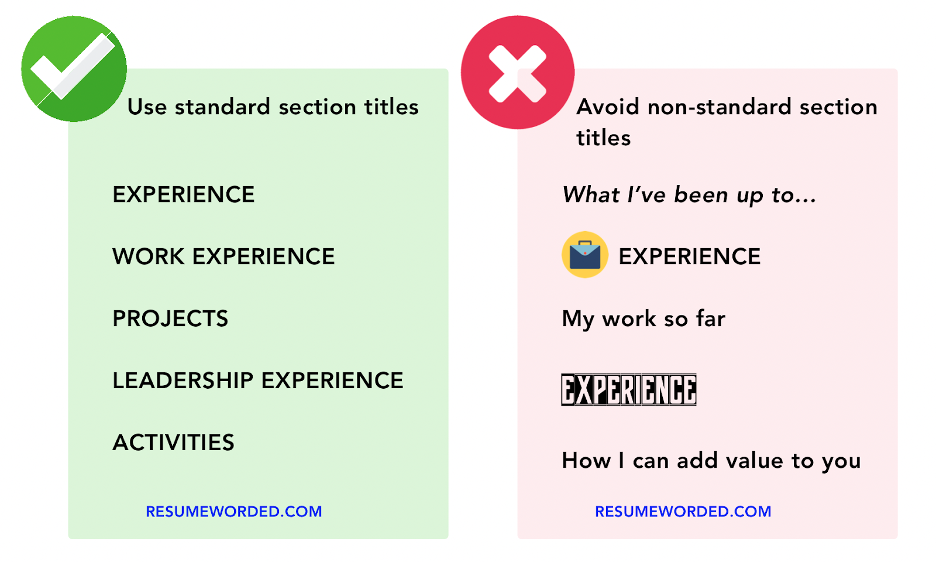 When choosing a resume font, avoid special characters, informal fonts, icons and non-standard fonts.