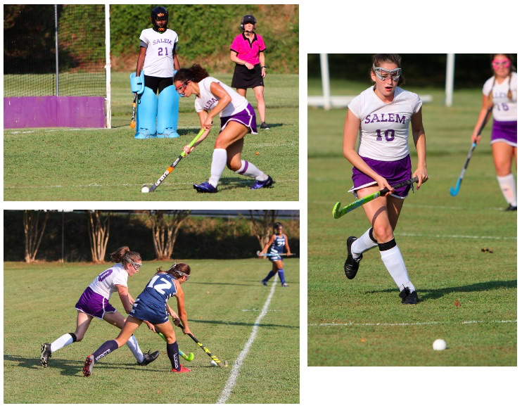 Athletes playing field hockey