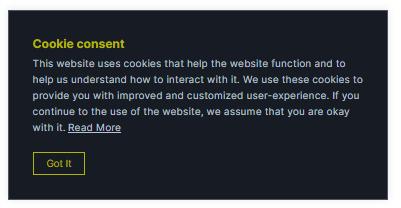 cookie informational banner