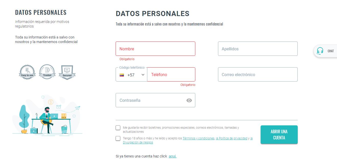 Pantalla de registro en iTrader. Broker para invertir en criptomonedas