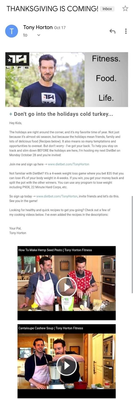 In the following example by celebrity trainer Tony Horton, you'll see he gets creative and shares a variety of recipes with his clients.