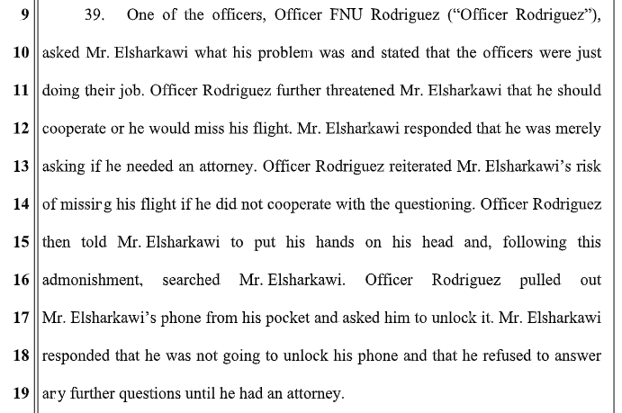 An excerpt of the lawsuit filed by Elsharkawi against the US government and DHS and CBP officials.