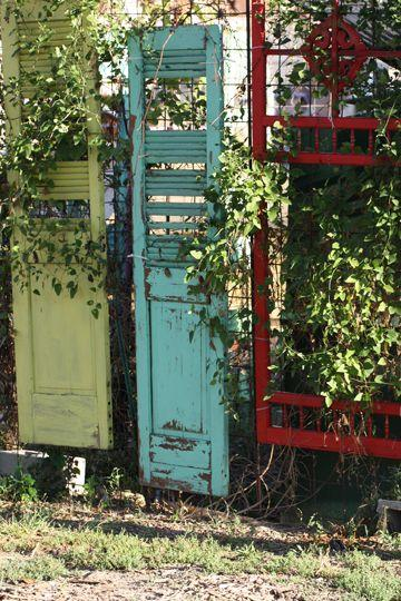 old shutters garden screening
