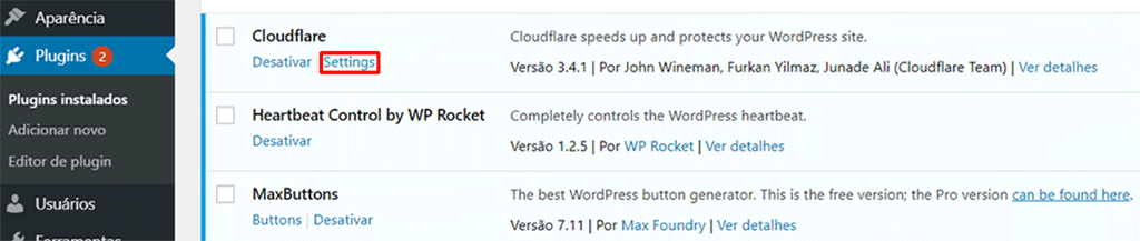 tela de configuracao de plugins o wordpress