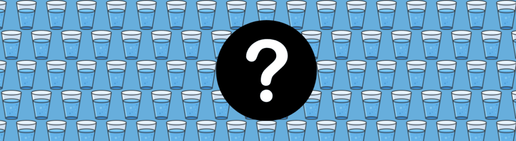 question mark icon with glasses of water behind