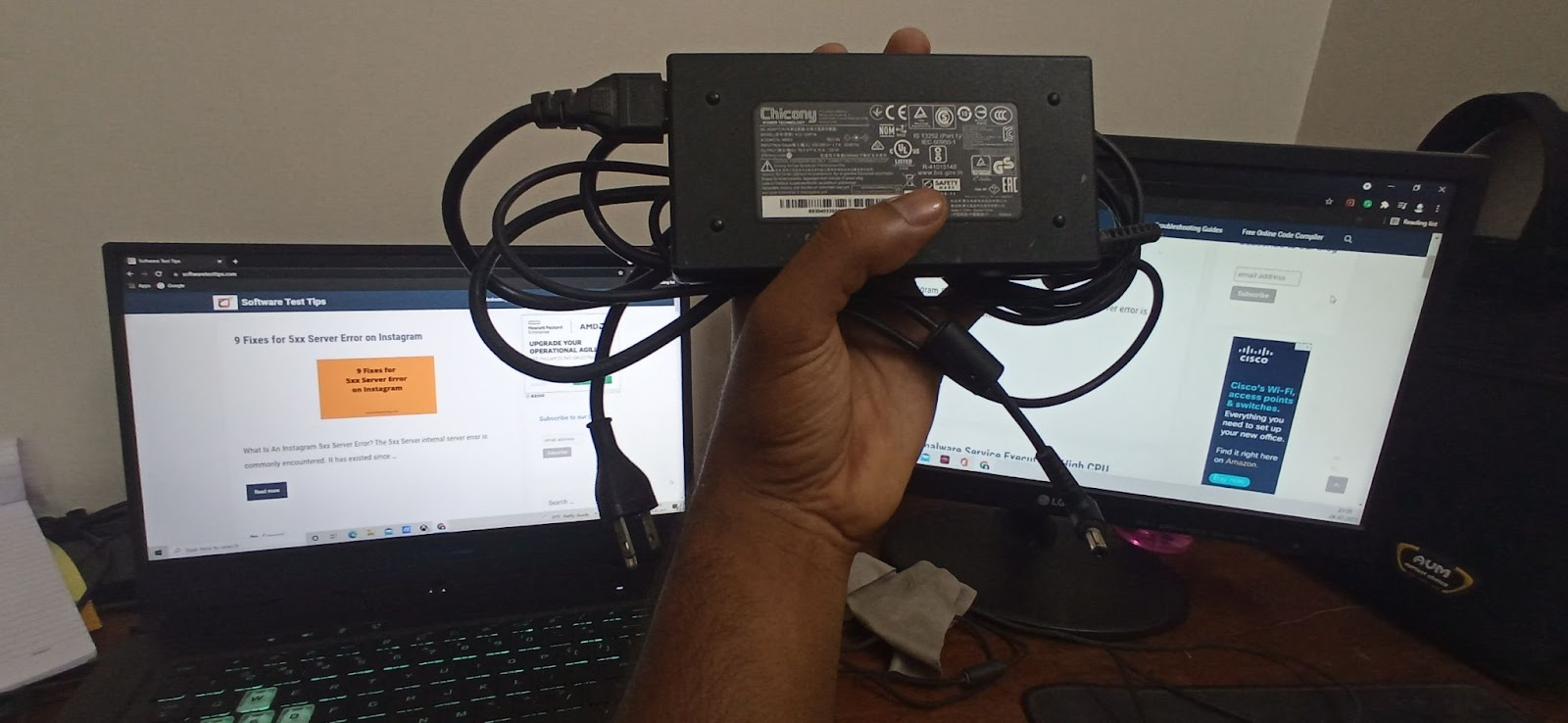 240V Chicony charger with adapter brick for MSI laptops