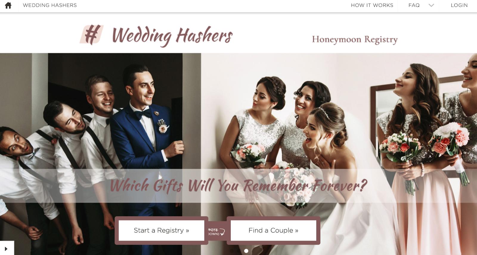 wedding hashers honeymoon registry