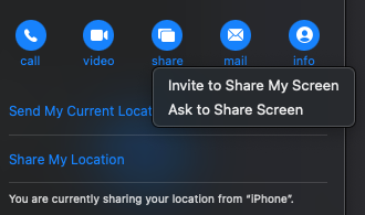facetime screen share with contact