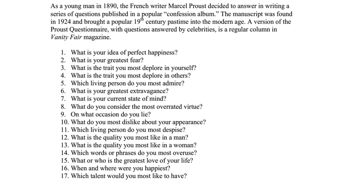 Proust Question... P