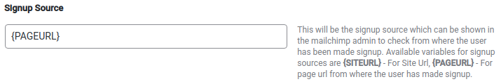 Signup Source, MailChimp Configuration