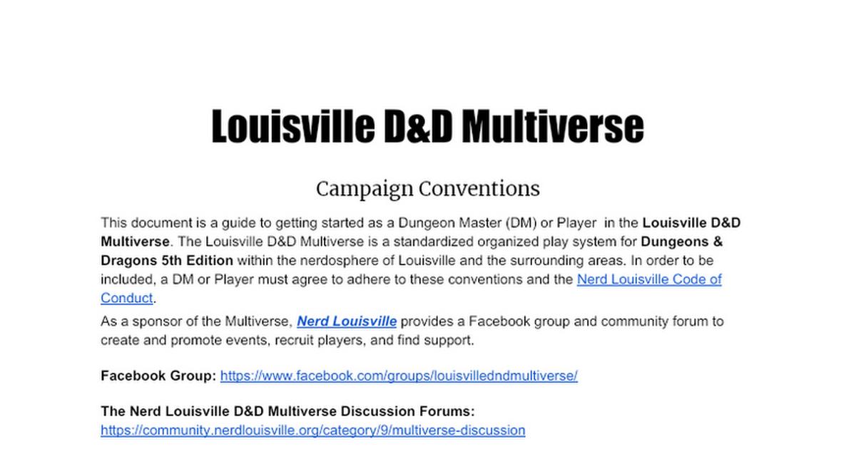 Louisville D&D Multiverse Conventions v 2.0