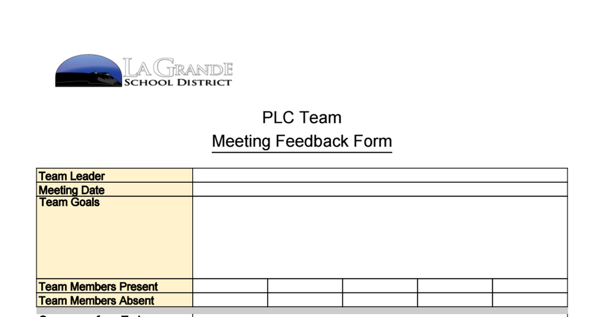 PLC Feedback Form Google Sheets – Meeting Feedback Form