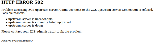 HTTP Error 502 Zimbra