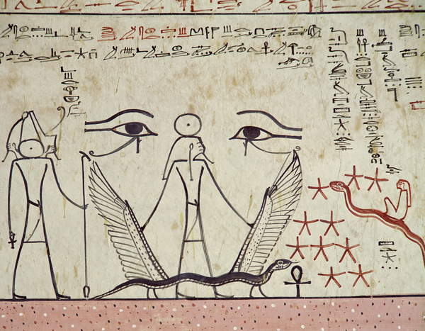 Image of The two mystical eyes, from the Tomb of Tuthmosis III (c.1504-1450 BC) New Kingdom (mural), Egyptian 18th Dynasty (c.1567-1320 BC) / Egyptian, Valley of the Kings, Thebes, Egypt, detail from Book of Amduat; © Bridgeman Images
