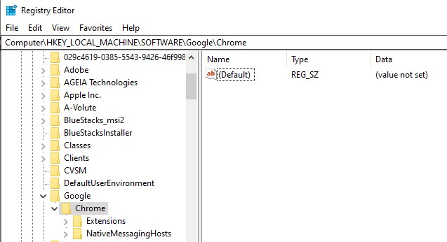 The Chrome directory in Registry Editor