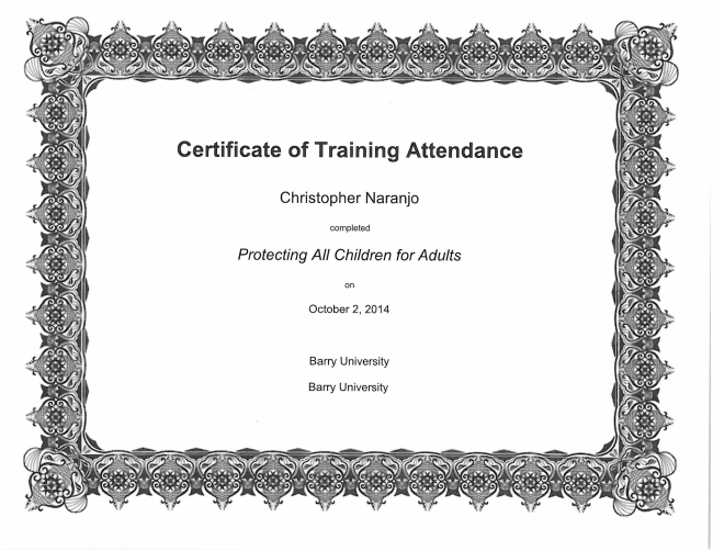 Virtus Training Certification - Chris Naranjo