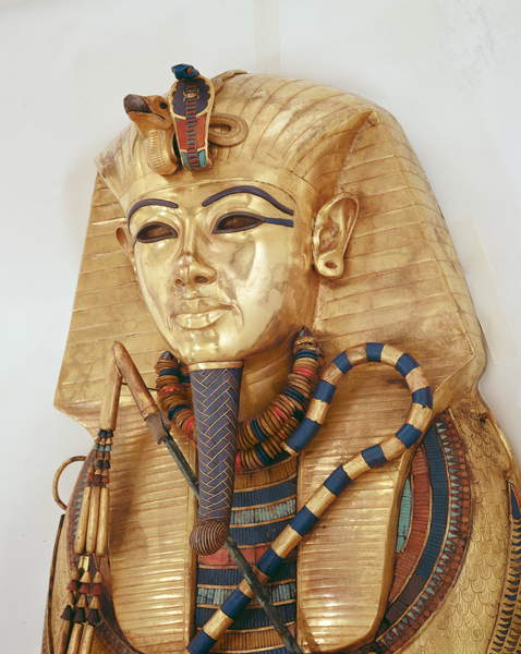 Image of Innermost coffin of the King, Tomb of Tutankhamun (c.1370-1352 BC) New Kingdom (gold inlaid with semi-precious stones), Egyptian 18th Dynasty (c.1567-1320 BC) / Egyptian, Egyptian National Museum, Cairo, Egypt, Photo © Boltin Picture Library / Bridgeman Images