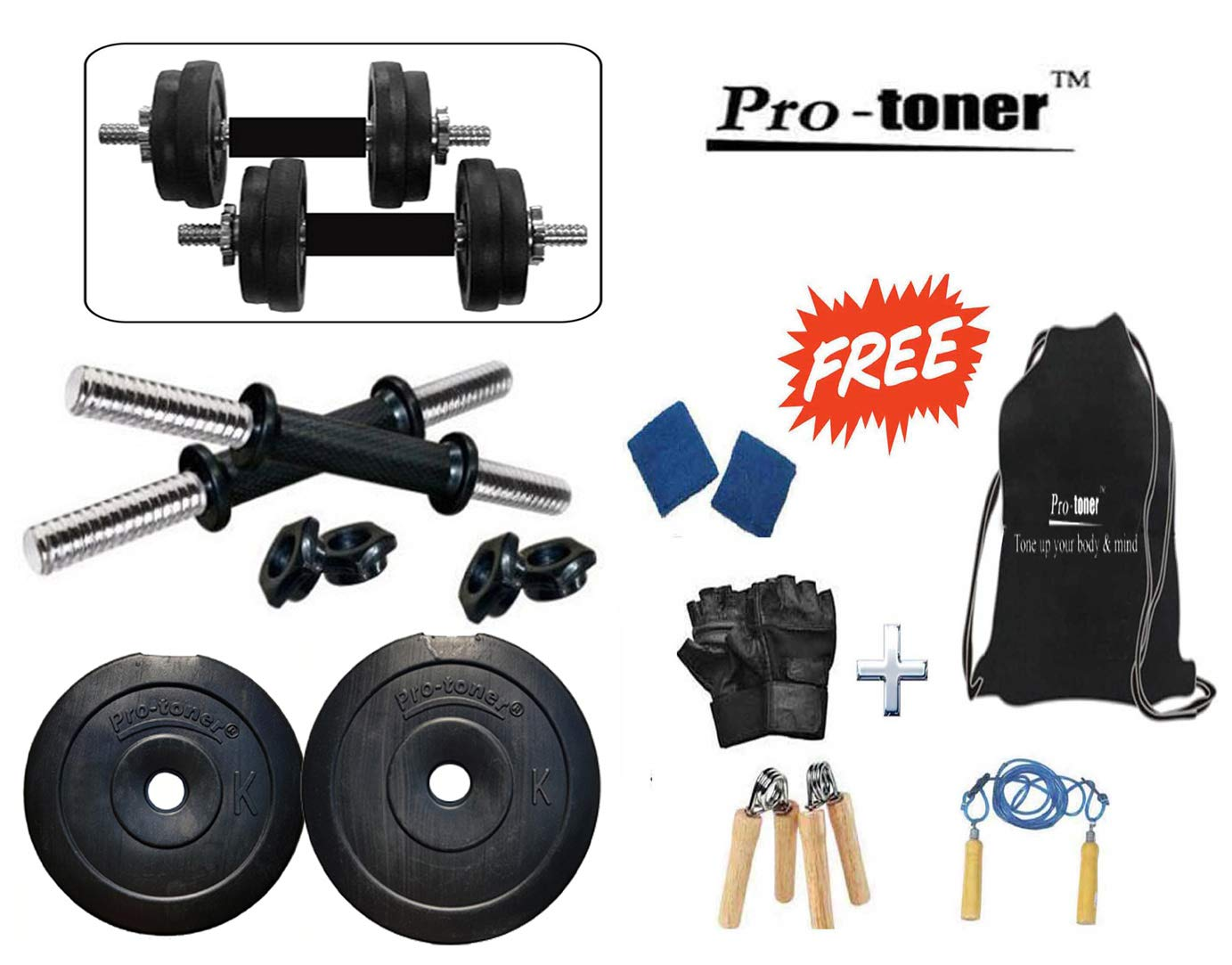 Protoner Adjustable 10kg Dumbbells