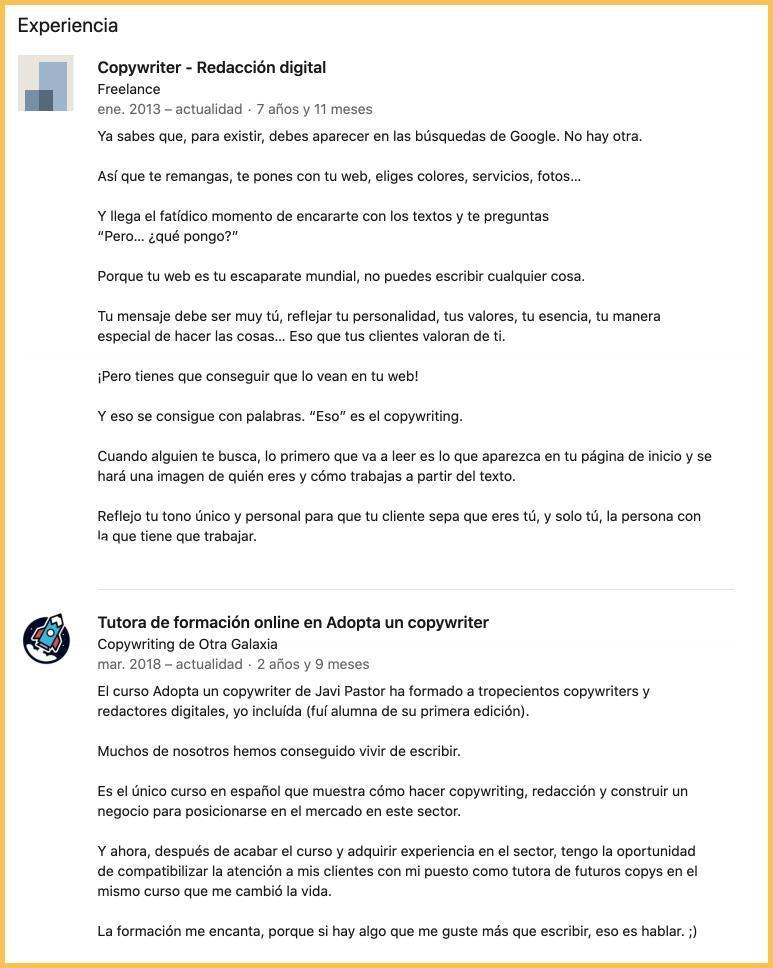 Experiencia en LinkedIn con copywriting