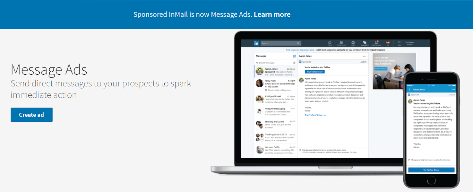 LinkedIn Sponsored InMail is now called Message Ads