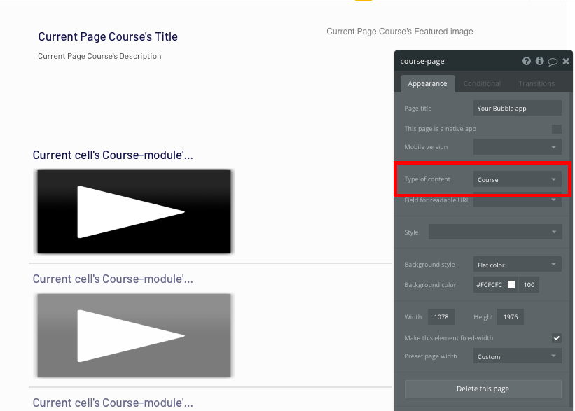 Configuring the page data type in Bubble's Udemy clone tutorial