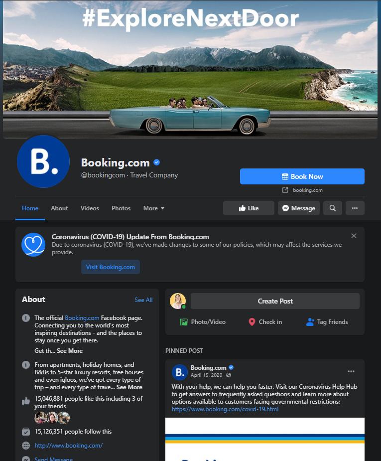 booking.com facebook page example