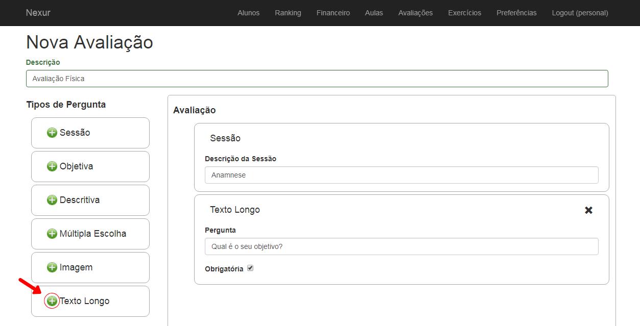 Inserir texto longo na ficha de anamnese e avaliação física no software Nexur
