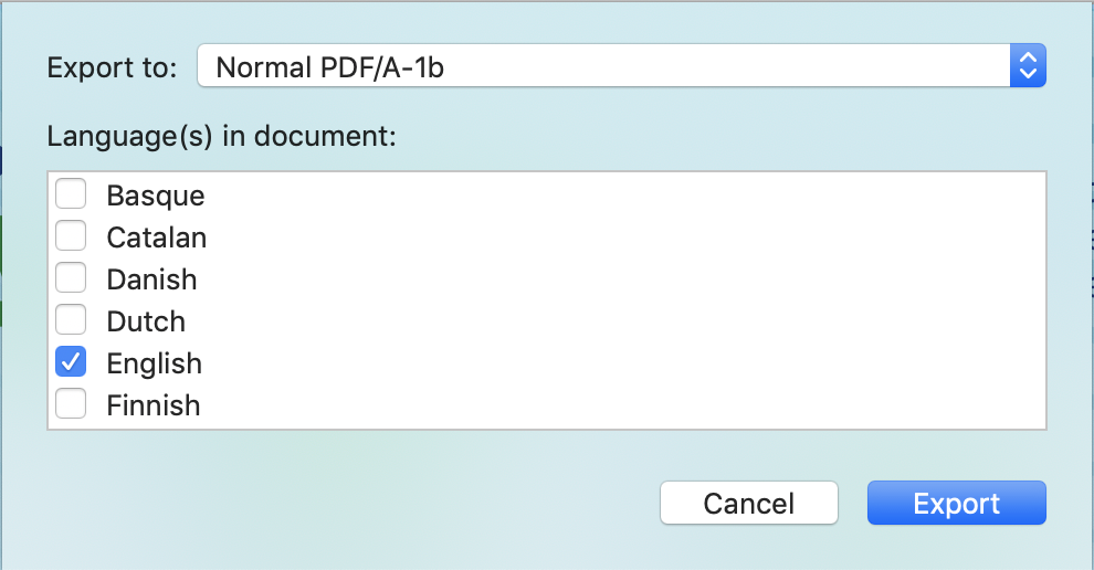 Choose the language before exporting to PDF/A.