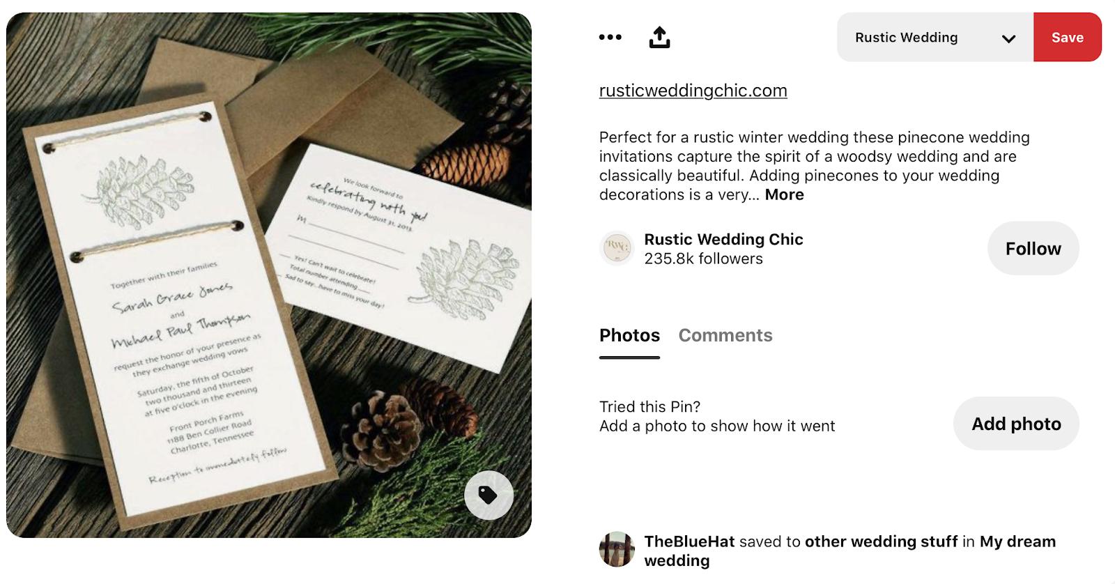 rustic wedding invitation sprayed with pine mist