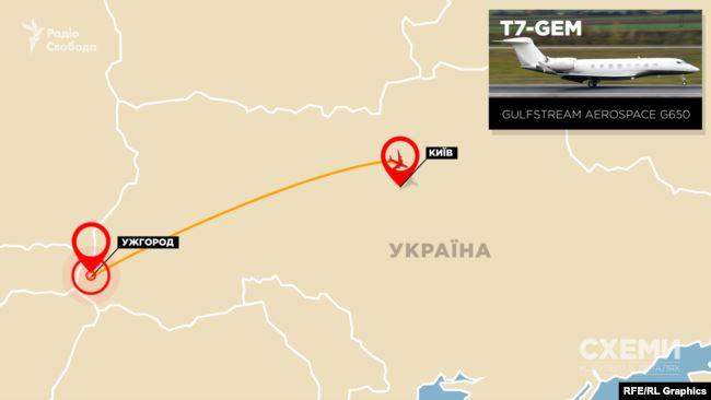 За період суворого карантину цей приватний літак здійснив 16 перельотів – із «Жулян» в Ужгород і назад