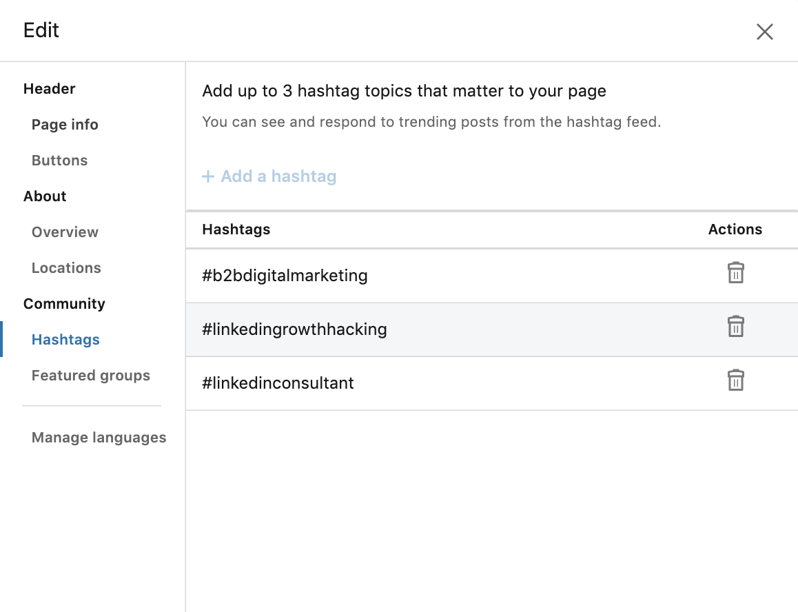 hashtags pagina aziendale linkedin