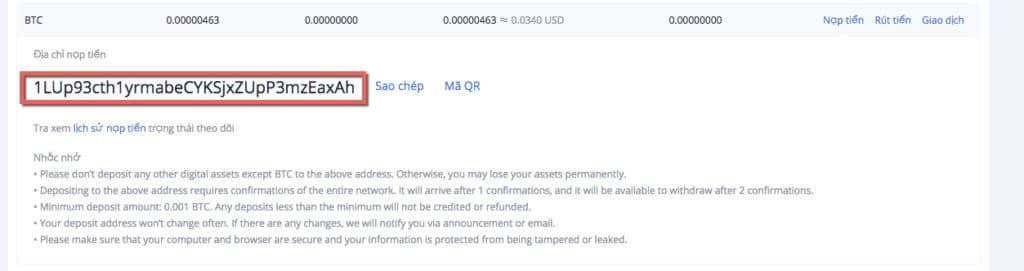 hướng dẫn nạp Bitcoin sàn huobi