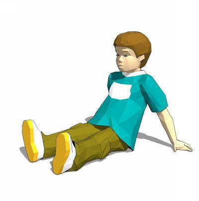 Child sitting on ground.