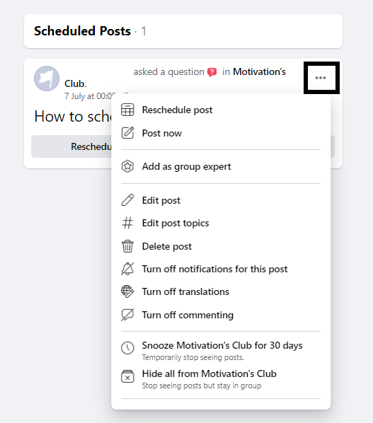 How to schedule posts on Facebook groups natively - edit & delete post