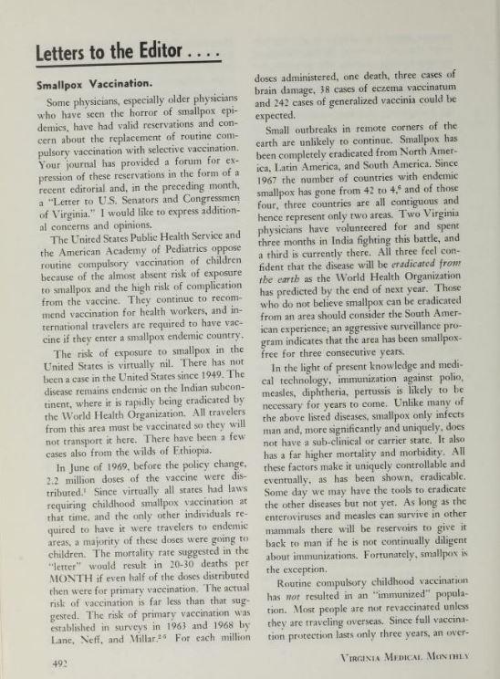 罗伯特·杰克逊写给编辑的关于天花疫苗接种的信,弗吉尼亚医学月刊,1975年6月,第167-168页。