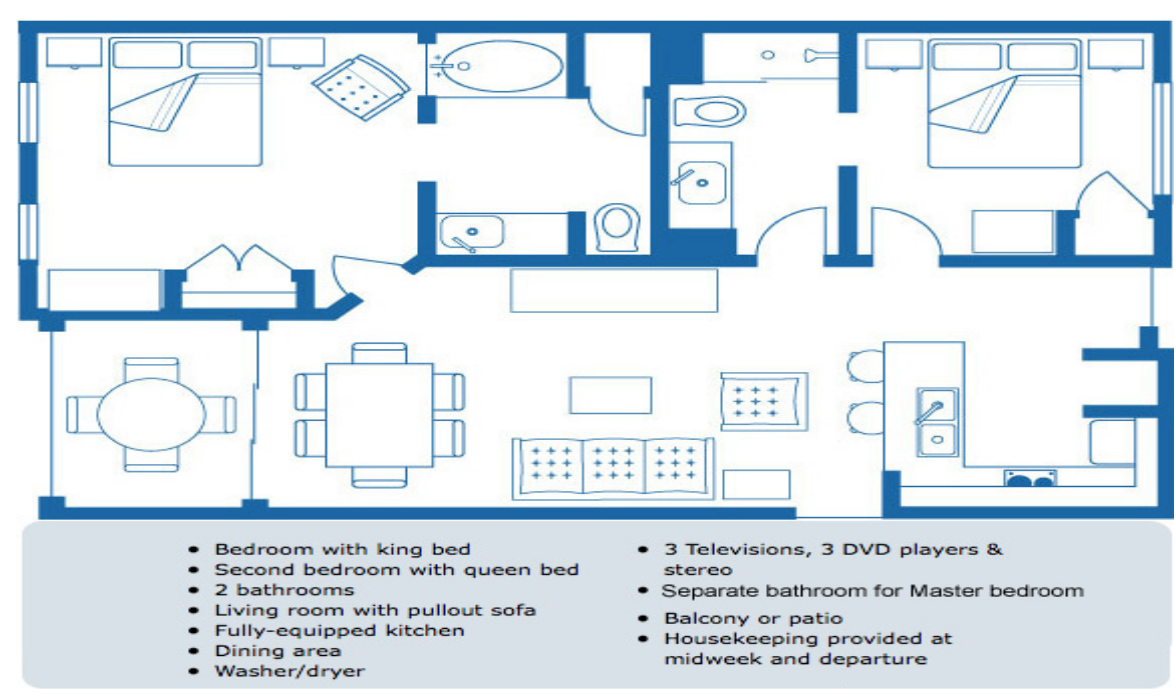 Two Bedroom Deluxe Condo Floor Plan