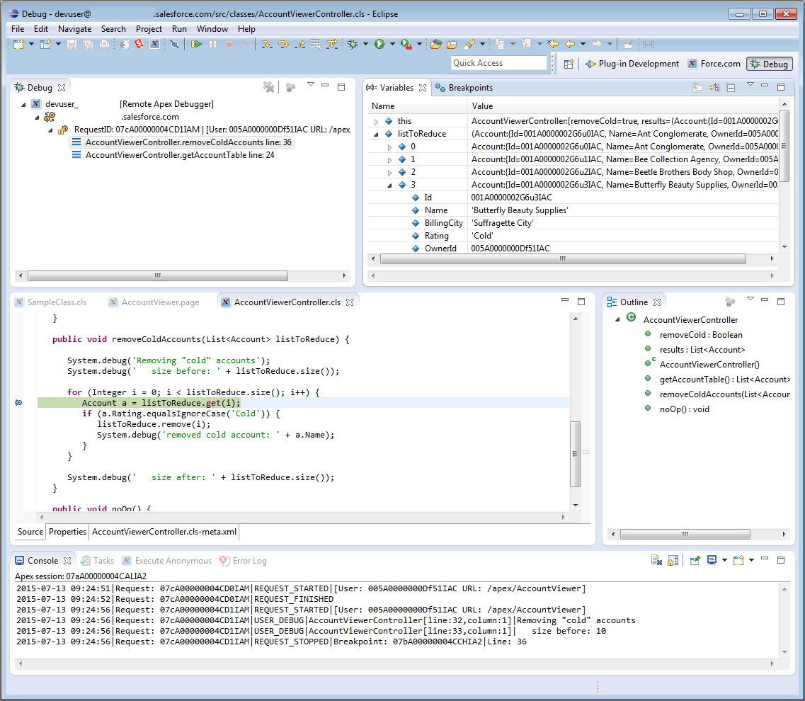 Screenshot of Eclipse with Apex Interactive Debugger stopped at a breakpoint
